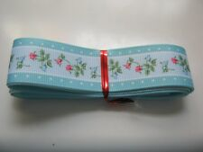 Grosgrain Ribbon - 25mm wide.  FLORAL - with MINT Edge,  min 2mtr lngth  *NEW*