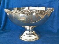 TOWLE 15'' DIAMETER 10'' TALL SILVERPLATED GRAPE & LEAF PUNCHBOWL