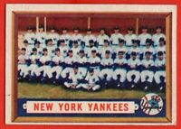 1957 Topps #97 New York Yankees Team EX+ MARKED WRINKLE Mickey Mantle Yogi Berra