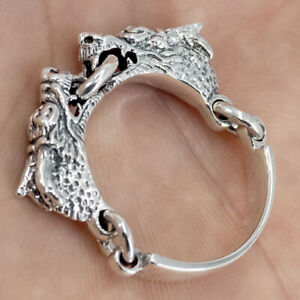 8g 2 headed japanese dragon snake claws genuine 925 sterling silver mens ring