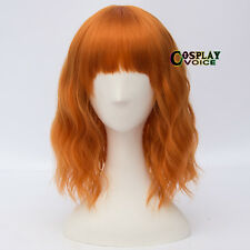 35cm Lolita Orange Short Wavy Bang Fluffy Party Heat Resistant Cosplay Wig+Cap
