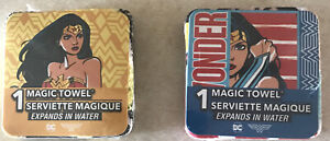 Wonder Woman 11.5in. x 11.5in. Magic Towels, Expands In Water, Lot of 2
