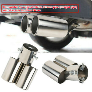 Universal Car Clamp-on Dual Exhaust Pipe Trim Tip Tail Muffler Stainless Steel