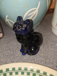 Vintage Mosser Glass Cobalt Blue Cat Kitty Figurine