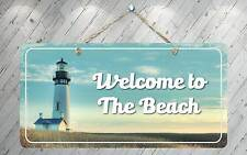 """749HS Welcome To The Beach 1 5""""x10"""" Aluminum Hanging Novelty Sign"""