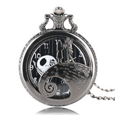 Gift for Girls Black Pocket Watch The Nightmare Before Christmas Necklace Skull