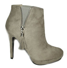 New Gray High heel tassel Pull on Ankle Booties boots Faux suede Leather size 10
