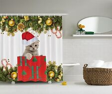 Christmas Red Green Cat Gift Holiday Art Fabric Shower Curtain Digital Bathroom