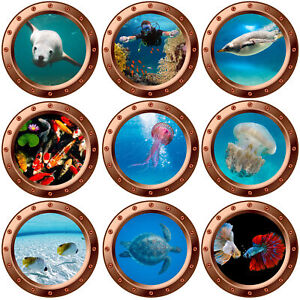 3D Underwater Copper Porthole Wall Stickers Sea Life Fishes Decal Bathroom