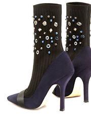 GLAM Escarpins Bleu nuit style nubuck avec effet chaussettes noir rivets ZARA 37