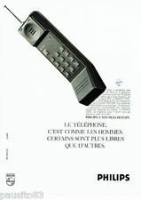 PUBLICITE ADVERTISING 116  1988  Philips téléphone Space line