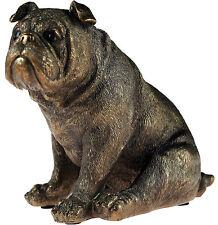 Sad Face Sitting Bronze Effect 14 cm Bulldog Dog Statue Ornament