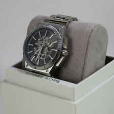 NEW AUTHENTIC MICHAEL KORS WILDER SILVER AUTOMATIC SKELETON MEN'S MK9021 WATCH