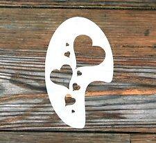 Design of hearts face paint template approx. 12cm x 8cm washable reusable