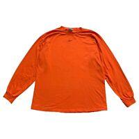 VTG Nike Gray Tag Center Swoosh Orange Embroidered L/S T Shirt Travis Scott XL
