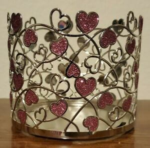 Bath & Body Works Glitter Hearts 3-Wick Candle Holder/Sleeve From The Valentines