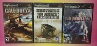 3 Game War Lot PS2 Playstation 2 Call of Duty 2 Sub Rebellion Brothers in Arms