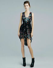 NEW ZARA BLACK MULTI-COLOURED FLORAL SPLATTER MULLET DRESS M MEDIUM UK 10 6 38