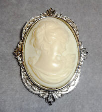 Large Victorian Style Cream Oval Resin Cameo Ladies' Profile~Silvertone Pin