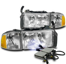 99-01 DODGE RAM 1500 SPORT CHROME HEADLIGHT W/CORNER TURN SIGNAL LAMP+10000K HID