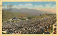 Linen Postcard CA G502 1944 Cancel Camp Hollywood Bowl Calif People Crowds