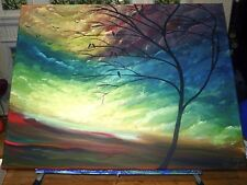 "Hand Painted Canvas Painting Sky Tree Abstract 16""x20"" Original"