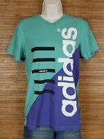 Adidas Aqua Blue Graphic Short Sleeve T-Shirt Womens Size Small S EUC
