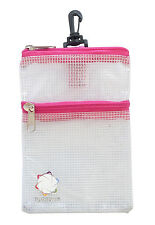 THE GOLF POUCH, PINK Trim, Clear See-through Accessories Storage Pouch