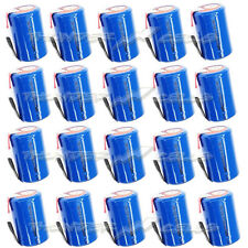 20 pcs NiCd 4/5 SubC Sub C 1.2V 1600mAh Rechargeable Battery with Tab Blue