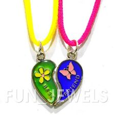 Best Friend Mood Necklaces Multi Color Changing half heart butterfly & flower