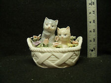 San Francisco Music Box Co - Kittens In A Basket With Flowers Figurine