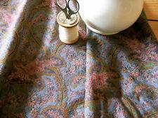 Antique Jacobean Paisley Cotton Fabric ~ Stone Blue Plum Coral Warm Tones 1930's