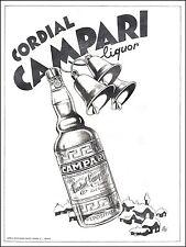 PUBBLICITA' CORDIAL CAMPARI LIQUOR PAESAGGIO NEVE CAMPANE FESTA BOTTIGLIA  1940