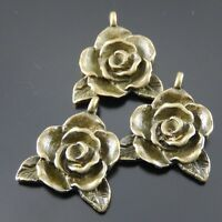 10PCS Antique Bronze Alloy Rose Flower Pendant Charms Jewelry DIY Findings 06739