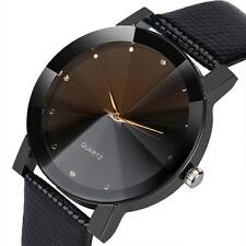 Women Men Luxury Crystal Quartz Stainless Steel Dial Leather Band Wrist Watch UK