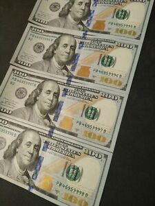 (4) Sequential $100 Bills (Very Cool Serial Numbers)