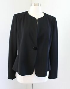 Armani Collezioni Solid Black Ribbed One Button Collarless Blazer Jacket Size 12
