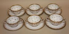 Ambrosius Lamm Dresden China Gold & Green Clover 6 Cream Soup Bowls & 10 Saucers