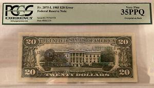 1985 US $20 Federal Reserve Note Overprint on Back Error PMG 35 rare Error Momey