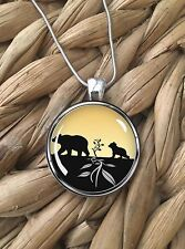 Mama & Baby Bears Cub Nature Animals Glass Pendant Silver Chain Necklace NEW