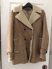 TOMMY HILFIGER KARINA LEATHER SHEARLING COAT SIZE SMALL - UK 10 US 6