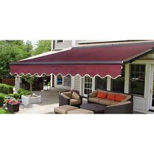 ALEKO Sunshade Half Cassette Retractable Patio Deck Awning 12x10 ft Burgundy