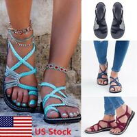 Summer Women Bohemian Sandals Shoes Thong Flip Flops Flat Strap Size Strappy Toe