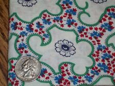 Vintage Feed Sack Feedbag Quilt Fabric Navy Blue flowers &Tiny Red &Blue Flowers