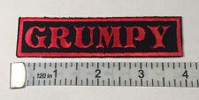 "Custom  Biker Vest Patch ""GRUMPY""  4""X 1""  RED"