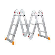 Aluminum Ladder Folding 12.3Ft Step Scaffold Extendable Multi-Purpose Platform