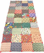 Vtg Fall Quilt Runner Country Home Farmhouse Log Cabin Walnuts Apples Floral