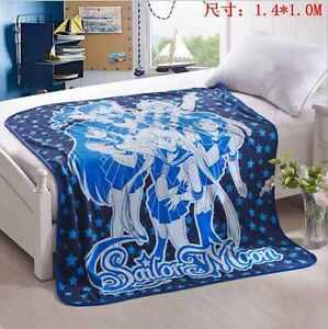 "Sailor Moon blue coral fleece throw blanket blankets quilt 55x43"" warm gift"
