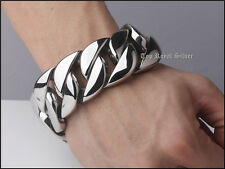 Cuban Curb Stainless Steel Bracelet �from Usa】Chrome Gothic Rocker Biker 32mm