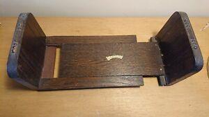 Beautiful Antique vintage Wooden Sliding/expanding Bookends shelf Book Slide Oak
